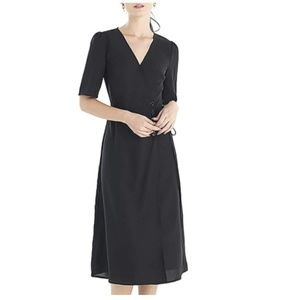 V Neck Midi Wrap Dress with Front Tie-Up